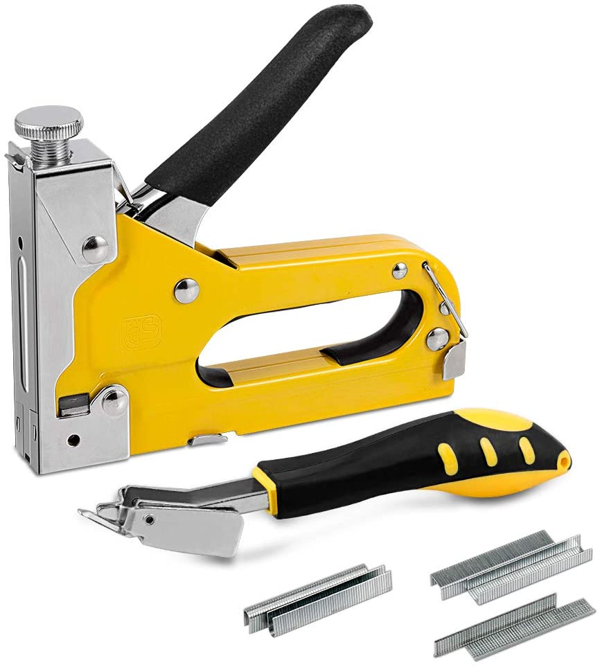 softeen Staple Gun Kit with Remover, 3 in 1 Hand Stapler Gun Tool Set Heavy Duty Cordless with 1800 Staples (D, U and T-Type) with Adjustable Driving Force for Wood, Upholstery, Decoration, Carpentry