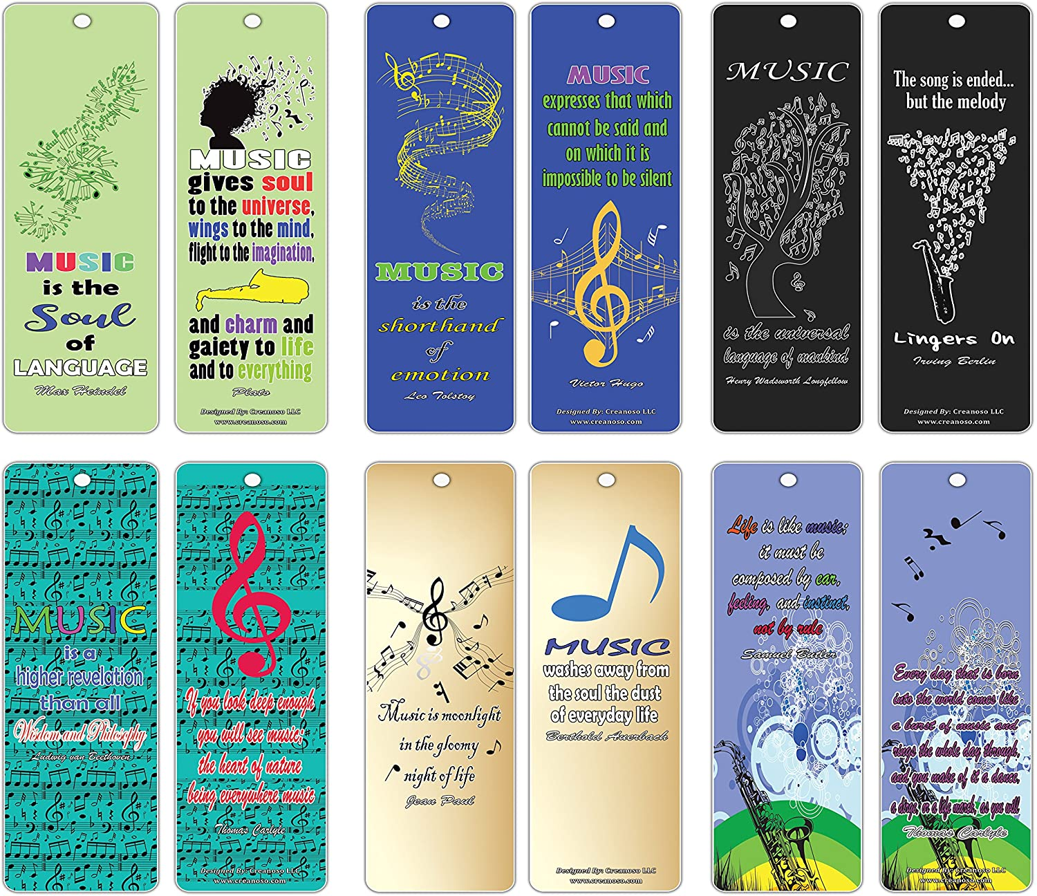 Creanoso Inspirational Quotes for Music Lovers Bookmarks Series 2 (12-Pack) - Inspiringly Cool Gifts for Men Women Teens - Great Gift Ideas for Anniversary, Birthday, Music Festival