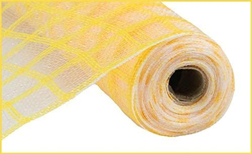 Yellow Faux Jute Check Mesh | 10.5 Inches x 10 Yards