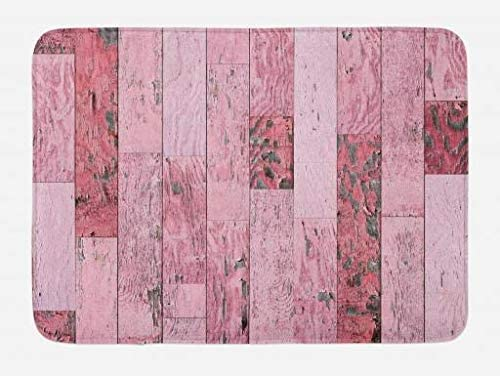 Ambesonne Wood Print Bath Mat, Pastel Pink Rustic Planks a Distressed Look Barn House Cottage Theme, Plush Bathroom Decor Mat with Non Slip Backing, 29.5 X 17.5, Pink Baby Pink Grey
