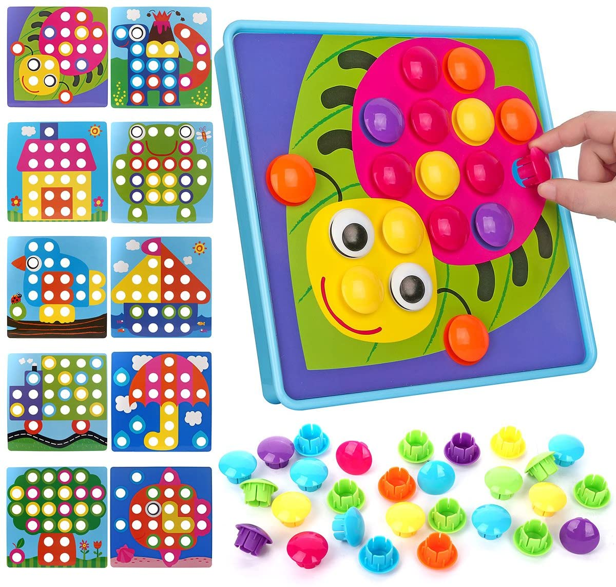 NextX Button Art Toy Color Matching Mosaic Pegboard Early Learning Educational Preschool Games for Kids' Motor Skills