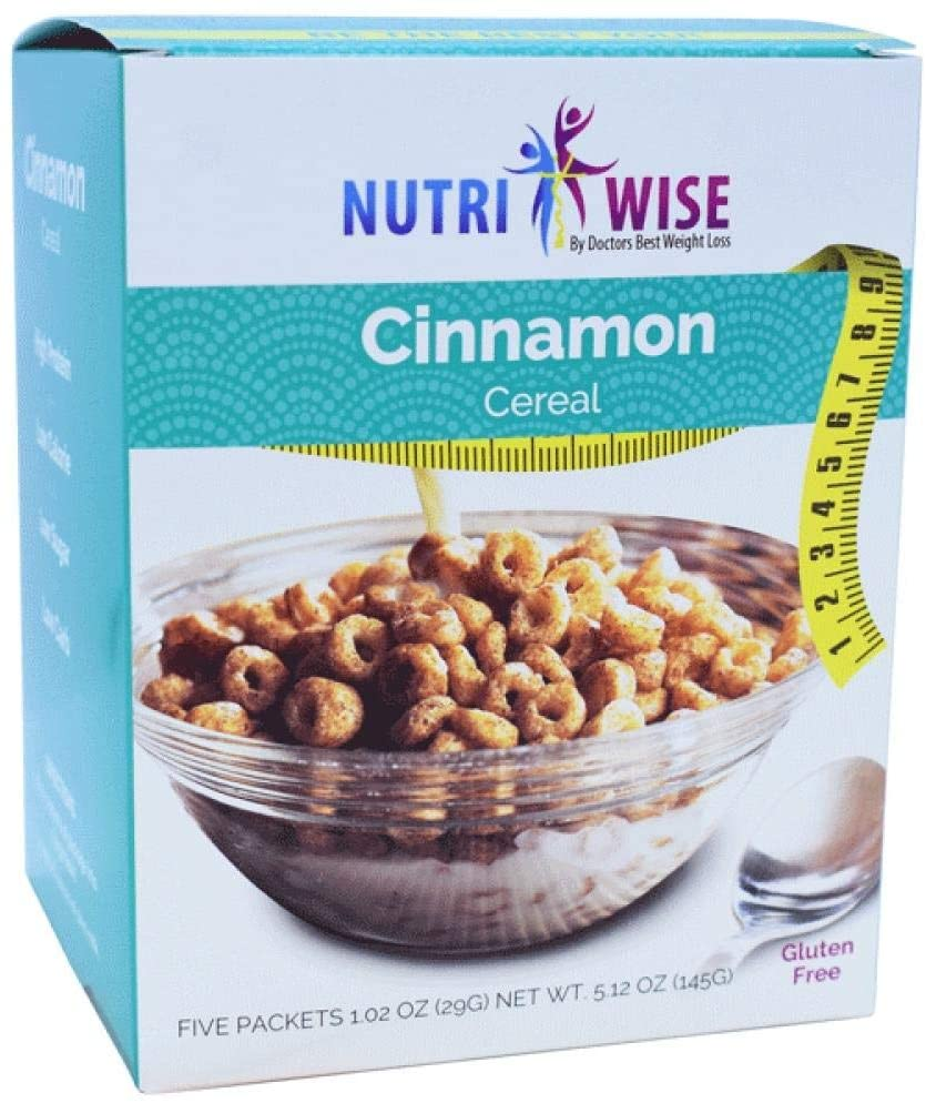 NutriWise - Cinnamon Cereal | Healthy Delicious Breakfast | High Protein, Low Carb, Low Calorie, Sugar Free, Gluten Free (5/Box)