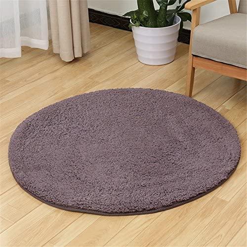 S-ssoy Soft Artificial Berber Fleece Round Rug Flexible Smooth Carpet/Mat For Stairway,Toilet,Study,FloorBedroom,Living Room,Bathroom,Kitchen,Home Decoration,Area Rug Grey Purple Diameter 120cm