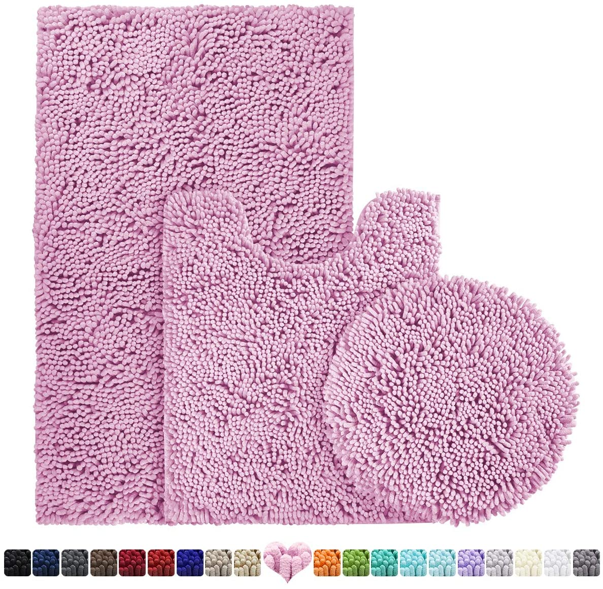 BYSURE Pink Bathroom Rug Set 3 Piece, Bath Rugs Toilet Rugs U Shaped, Extra Absorbent Shaggy Chenille Bathroom Rugs Soft & Dry Bathroom Rug Set and Mats Sets Non Slip Washable Bath Rugs