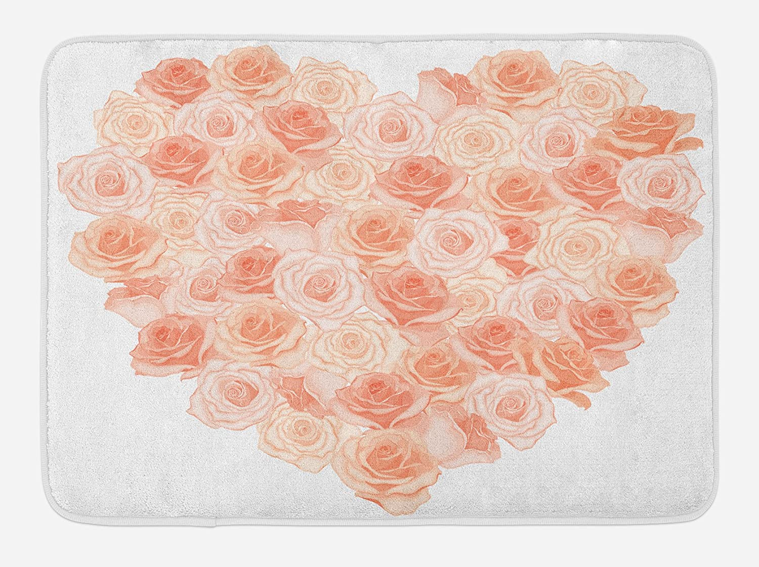 Ambesonne Peach Bath Mat, Valentines Day Inspired Heart Shaped Blooming Roses Bouquet with Romantic Design, Plush Bathroom Decor Mat with Non Slip Backing, 29.5 X 17.5, Salmon Peach