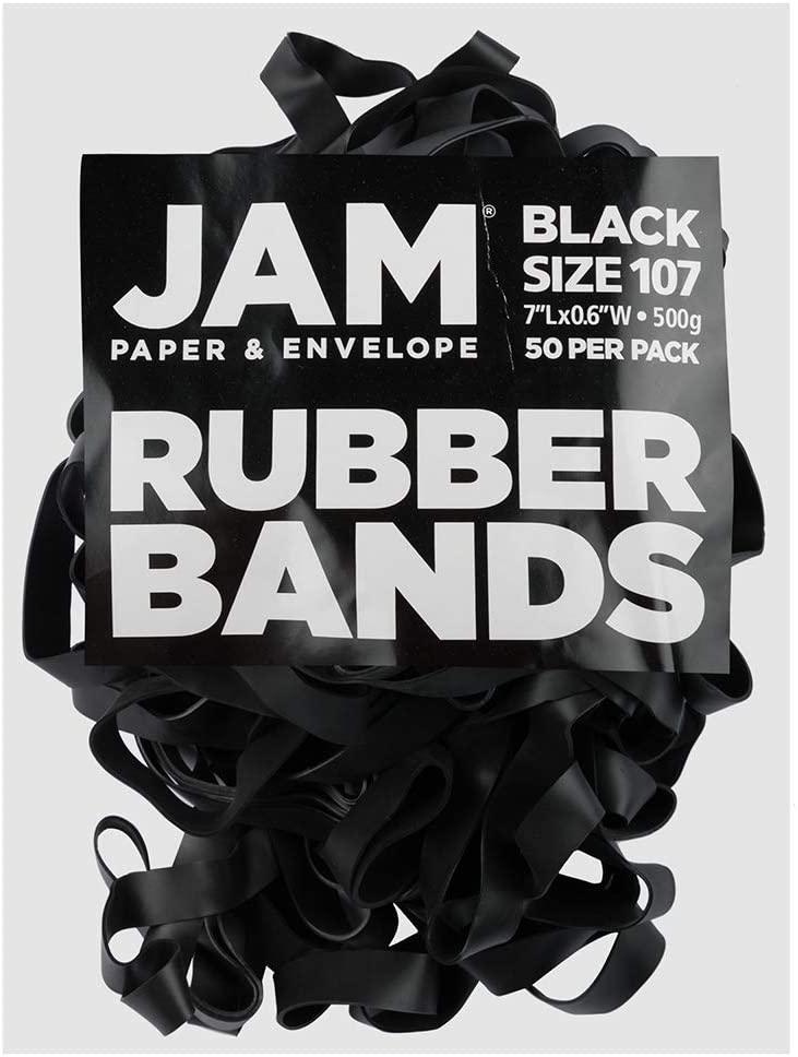 JAM PAPER Durable Rubber Bands - Size 107 - Black Multi-Purpose Rubberbands - 50/Pack