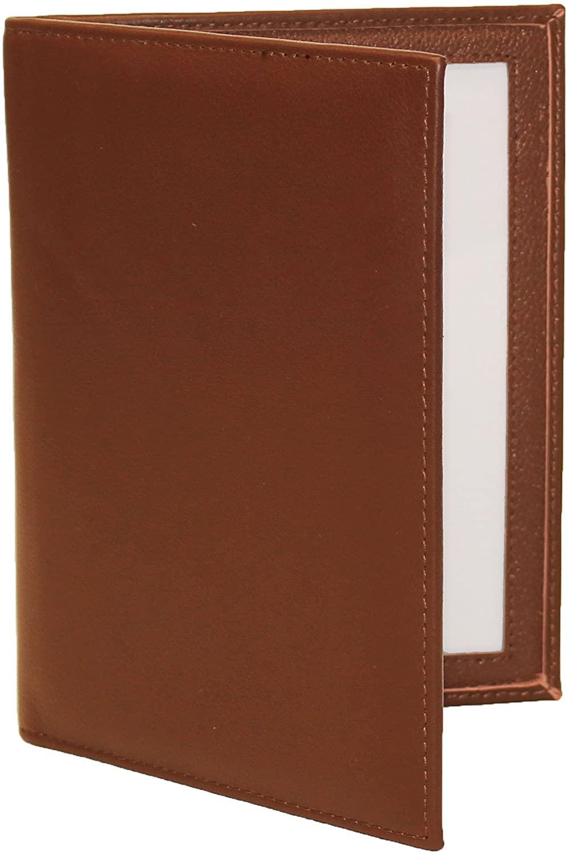 Karandu Double 4x6 Portrait Leather Picture Frame - Cognac