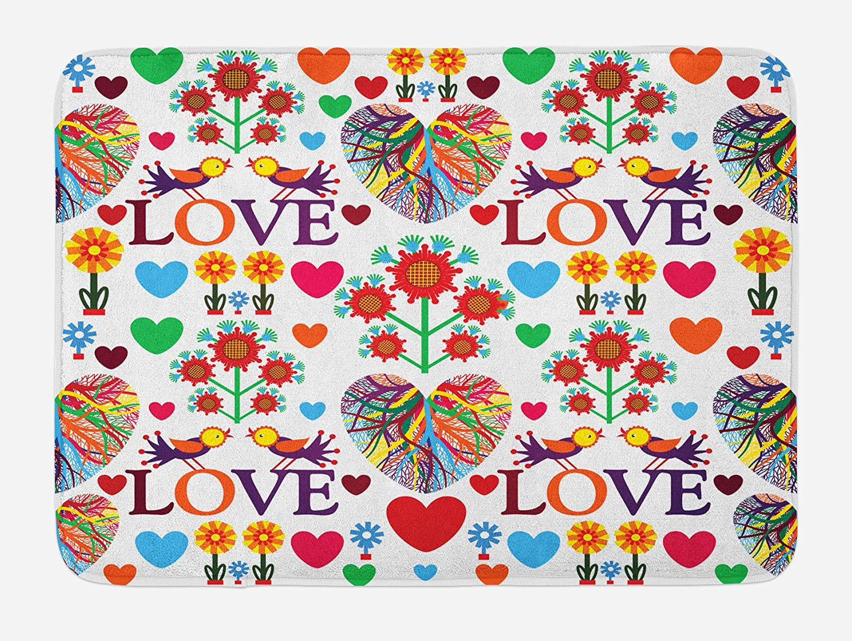 Ambesonne Love Bath Mat, Colorful Blooms Romantic Pattern Birds Hearts Creative Ornate Design Traditional Art, Plush Bathroom Decor Mat with Non Slip Backing, 29.5
