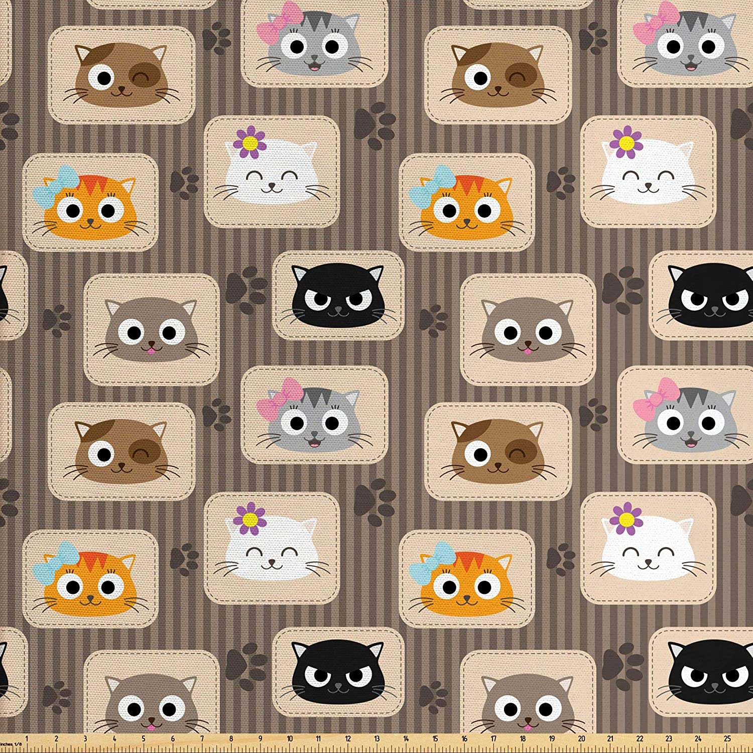 Ambesonne Cat Fabric by The Yard, Patchwork Inspired Pattern Kitty Faces Silly Expressions Footprints Stripes, Decorative Fabric for Upholstery and Home Accents, 3 Yards, Taupe Orange