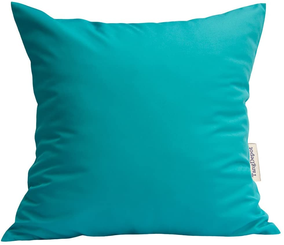 TangDepot Durable Faux Silk Solid Pillow Shams, Square Decorative Pillow Covers, Throw Pillow Covers, Indoor/Outdoor Cushion Covers Pillows Shells - (12x12, Light Teal)
