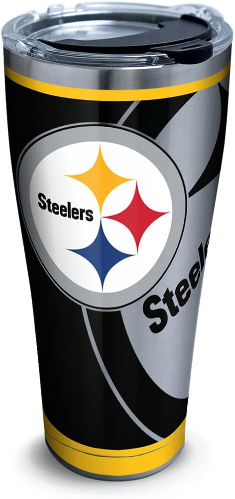Tervis NFL Pittsburgh Steelers Rush Stainless Steel Tumbler With Lid, 30 oz, Silver