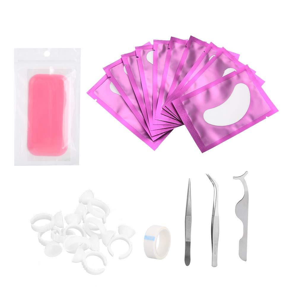 Eyelash Extension Kit, Professional Grafting Eyelash Set Eye Pads Tweezers Ring Cup Eyelash Extension Tool Kit(03#)