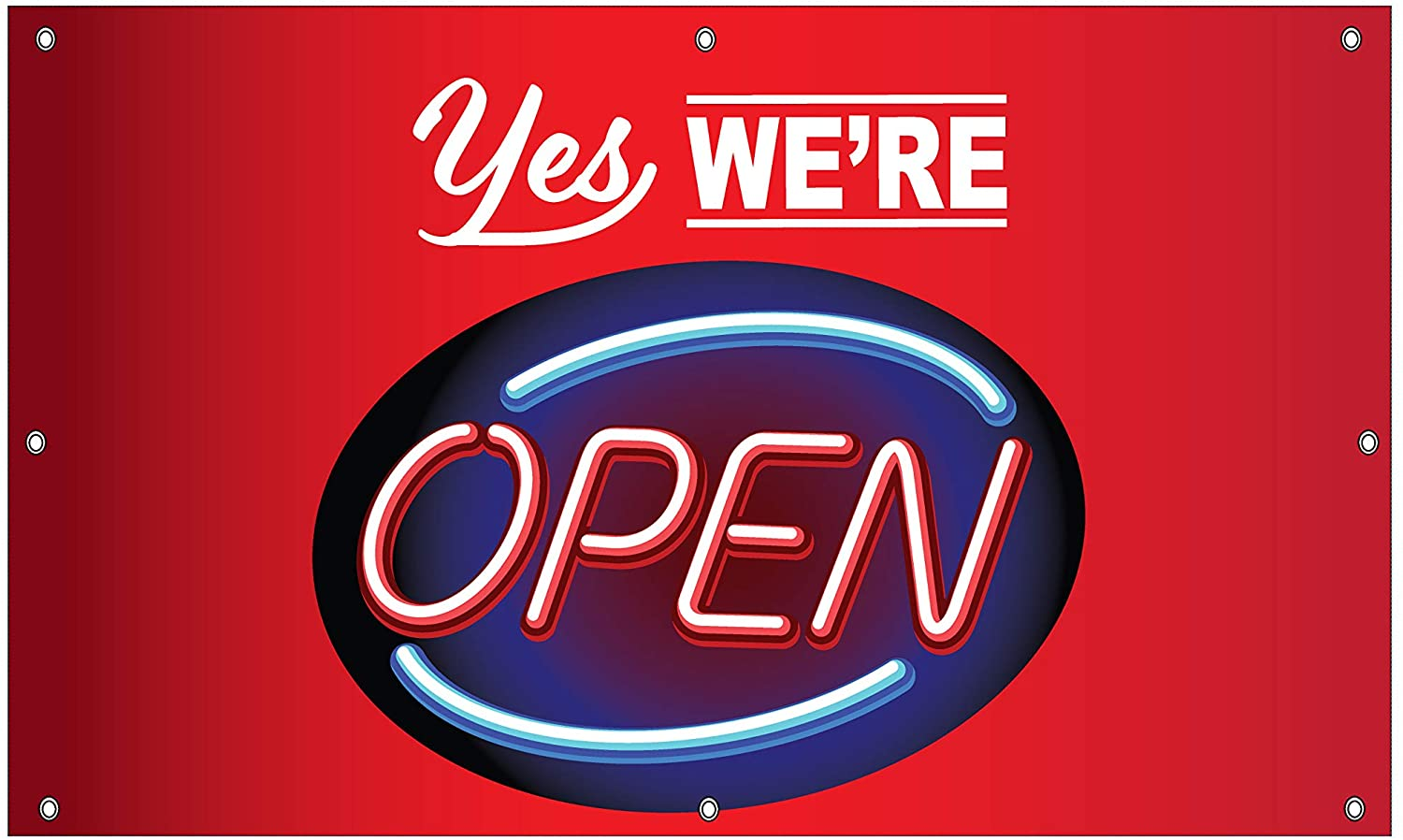 We Deliver, Carryout, Pick Up, Open Essential Service Sign 3x5 Outdoor, Heavy Duty, Vinyl Banner w/Grommets for Restaurants, Markets and Business, Simple Signs, Easy to Hang (We're Open)