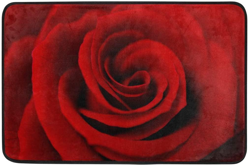 Kcldeci Valentine's Day Rose Doormat Indoor Door Mats 23.6 x 15.7 inch Red Flower Floral Floor Mats Entry Way Welcome Doormats Bath Pad for Kitchen Bathroom Home Decor