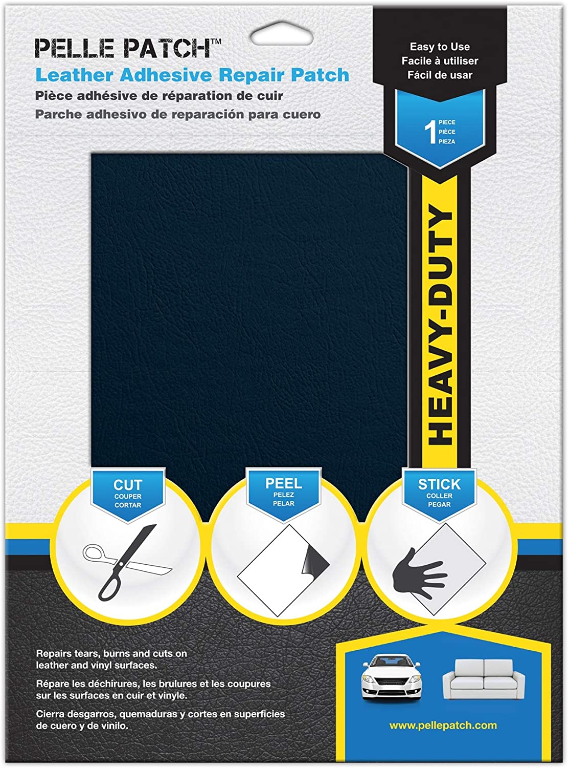 Pelle Patch - Leather & Vinyl Adhesive Repair Patch - 25 Colors Available - Heavy-Duty 8x11 - Medium Blue