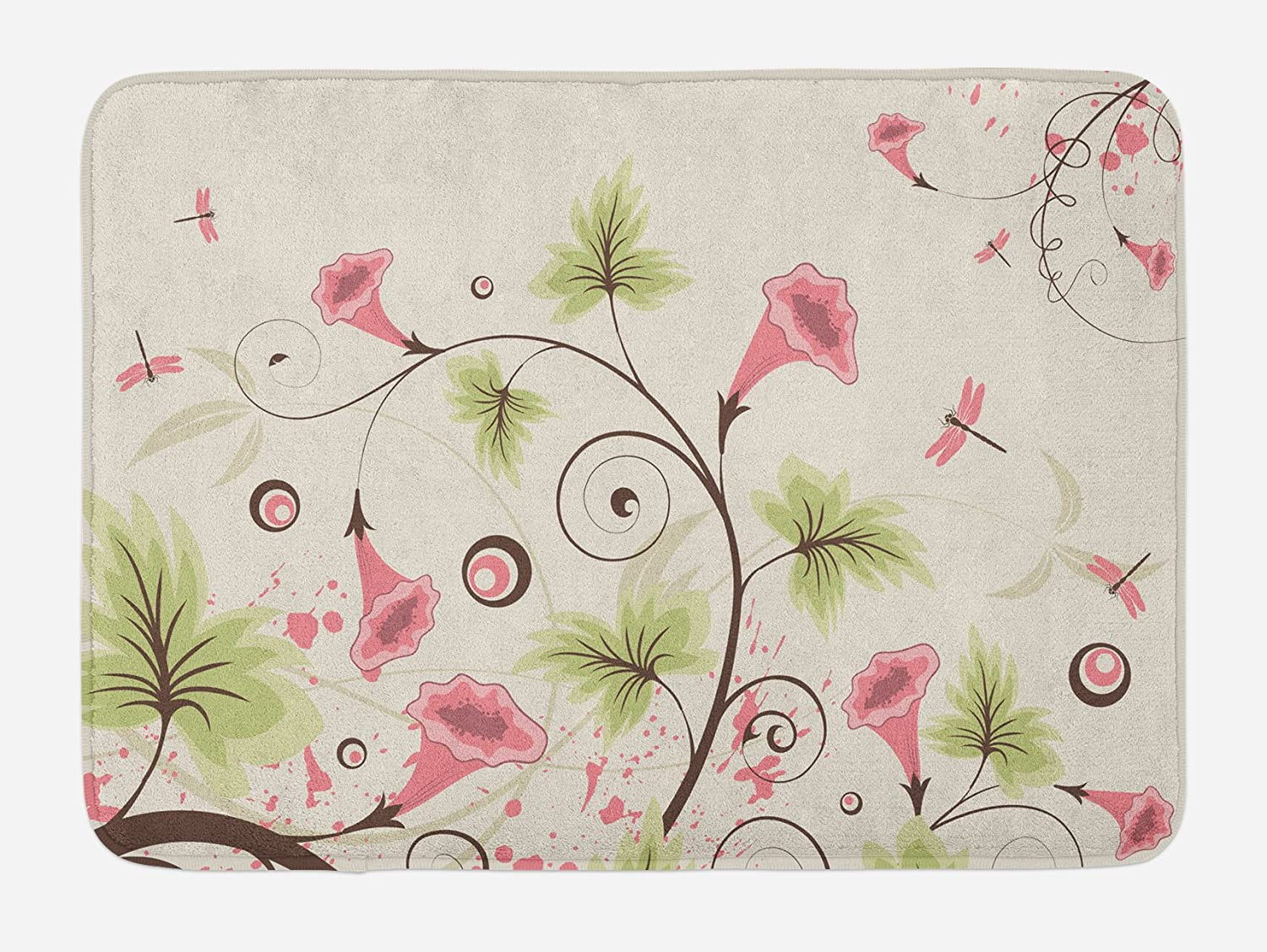 Lunarable Dragonfly Bath Mat, Cup Shaped Romantic Swirling Pastel Vibrant Flowers and Mature Dragonflies Print, Plush Bathroom Decor Mat with Non Slip Backing, 29.5