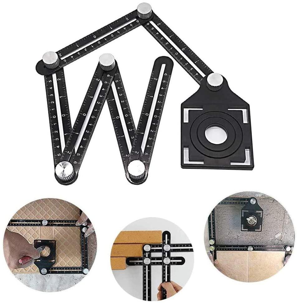 SQINAA Multi Angle Measuring Ruler,Precise Premium Aluminum Alloy Easy Angle Layout Tool for Builders, Craftsmen, Carpenters, Handymen