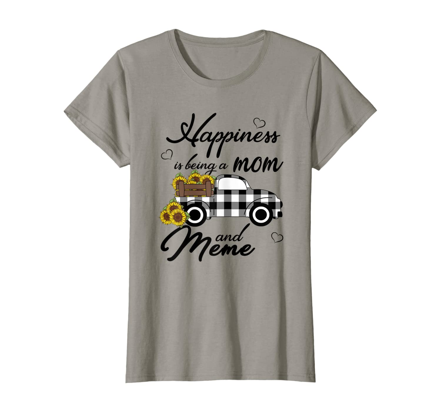 Womens Sunflower Grandma Shirt Happiness is being a Mom and Meme T-Shirt