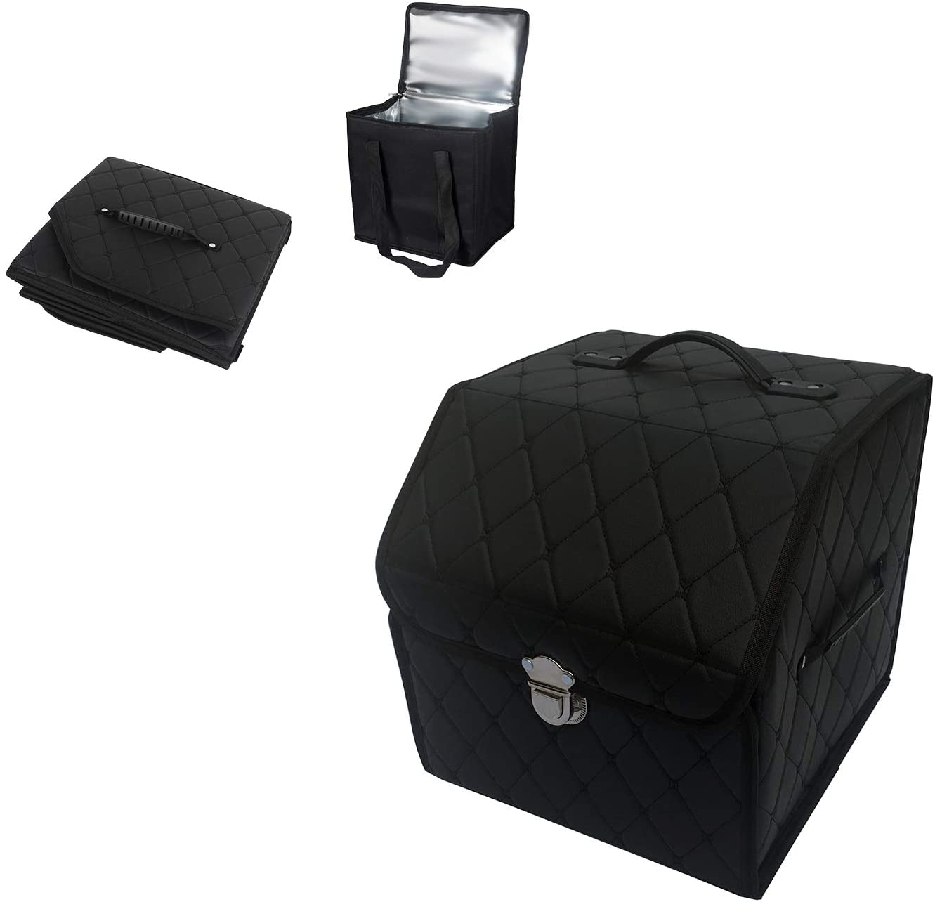 Car PU Leather Trunk Organizer Storage,Collapsible & Waterproof Portable with Premium Insulation Cooler Bag (Black/Black line, S)