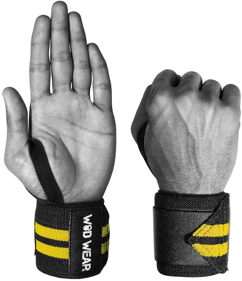 WOD Wear Elastic Wrist Wraps for Powerlifting, Strength Training, Bodybuilding, Cross Training, Olympic Weightlifting, Yoga Support - One Size Fits All - 100%