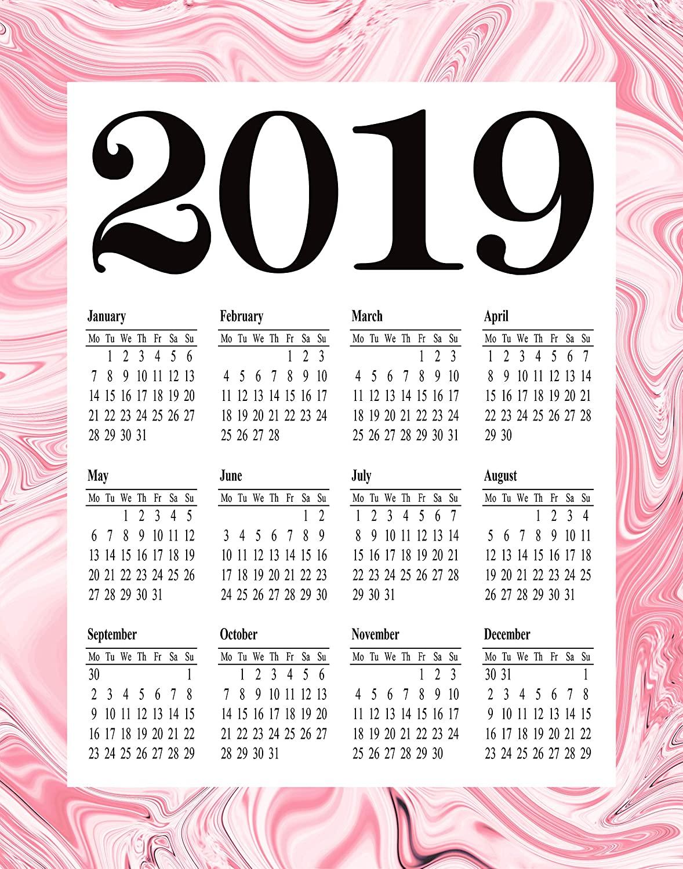 Pink Marble 2019 Calendar 2019 Wall Art 2019 Planner Girl Calendar for Girl's Room (11.7 x 16.5 (A3))