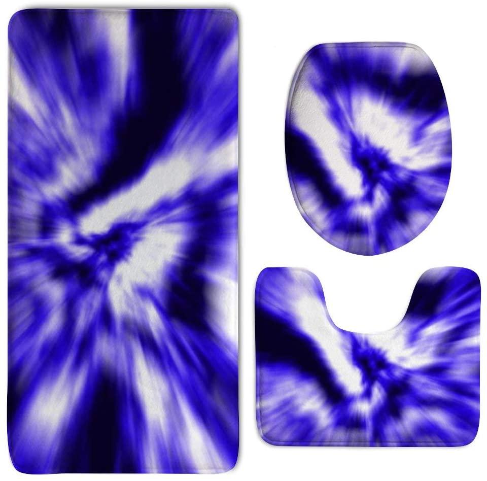 NiYoung Memory Foam Bathroom Rug Shag - 3 Piece Toilet Carpet Rugs Includes Contour Mat Lid Cover, Non Slip Shaggy Mat Water Absorbent Bathroom Carpet (Tie Dye Purple)