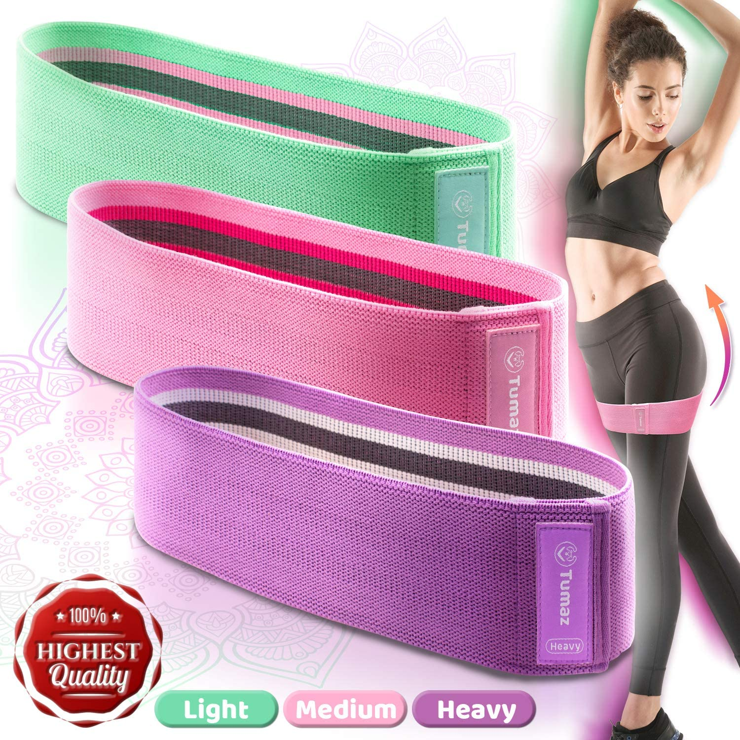 Tumaz Booty Bands, Premium Fabric Resistance Bands Always Ready for Home Workout, Fitness, Physical Therapy, Glute Anti-Slip Band [Skin-Friendly, Extra-Durable, Eco-Friendly] with Instruction E-Book