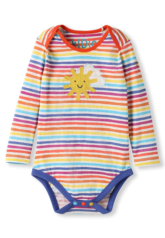 Organic Cotton Baby Bodysuit Girl Boy - Sunshine Applique Rainbow Stripes (0-3M)