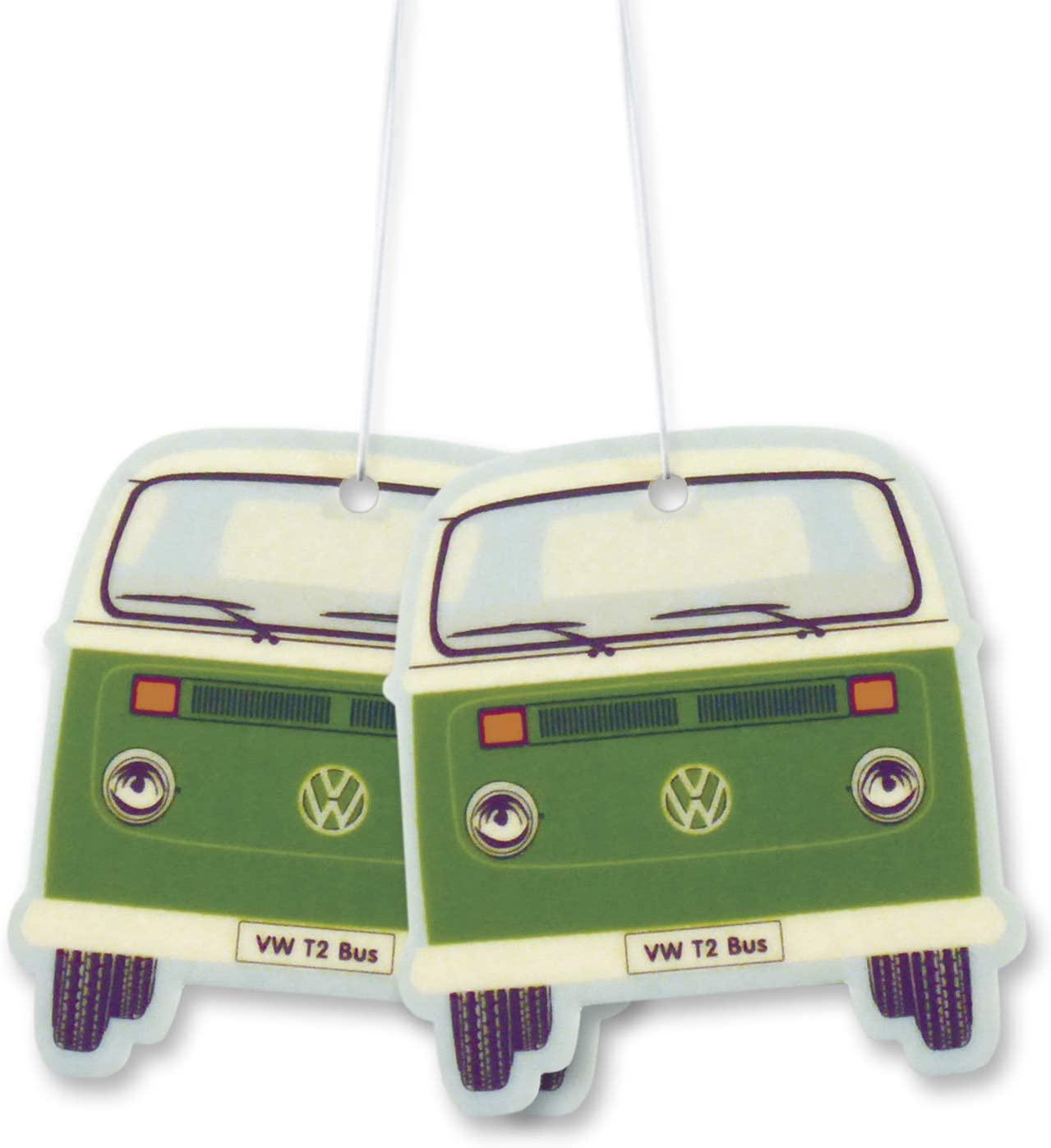 BRISA VW Collection - Volkswagen Scented Car Air Freshener Fragrance Deodorizer for Car/Auto or Home with Volkswagen Samba Bus T2 Camper Van Front Design (Green Tea/Green/2-pc Set)