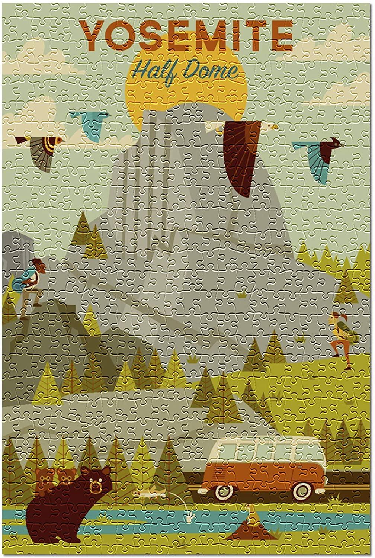 Yosemite National Park, California - Half Dome - Geometric 101805 (Premium 500 Piece Jigsaw Puzzle for Adults, 13x19)