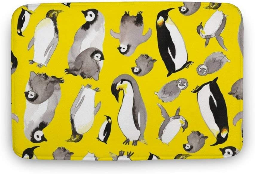 ASO-SLING Yellow Penguin Potpourri Non Slip Bath Mat Water Absorption Machine Wash Office Door Mat Super Cozy Coral Velvet Toilet Floor Rug Bathroom Decor