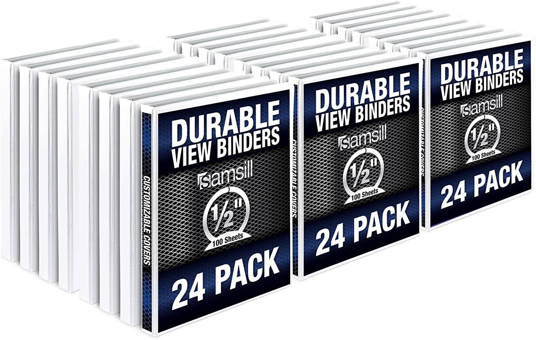 Samsill Durable .5 Inch Binder White Round Ring Binder / Customizable Clear View Binder / Bulk Binder 24 Pack / White 3 Ring Binder / Half Inch Binder