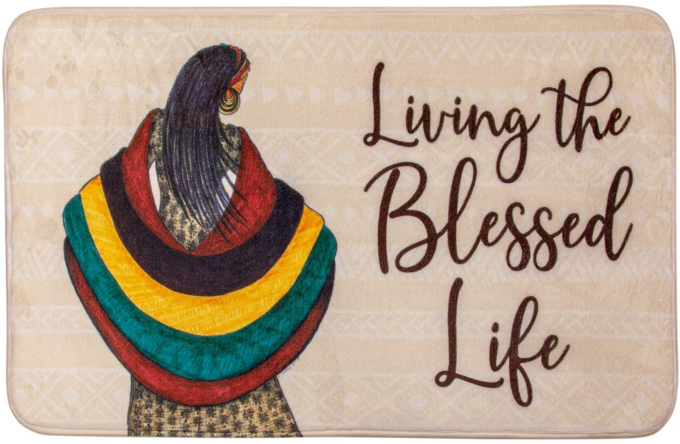 African American Expressions Non-Slip Memory Foam Bath Mat - 17 x 29 Inch, Blessed Life Mudcloth Pattern