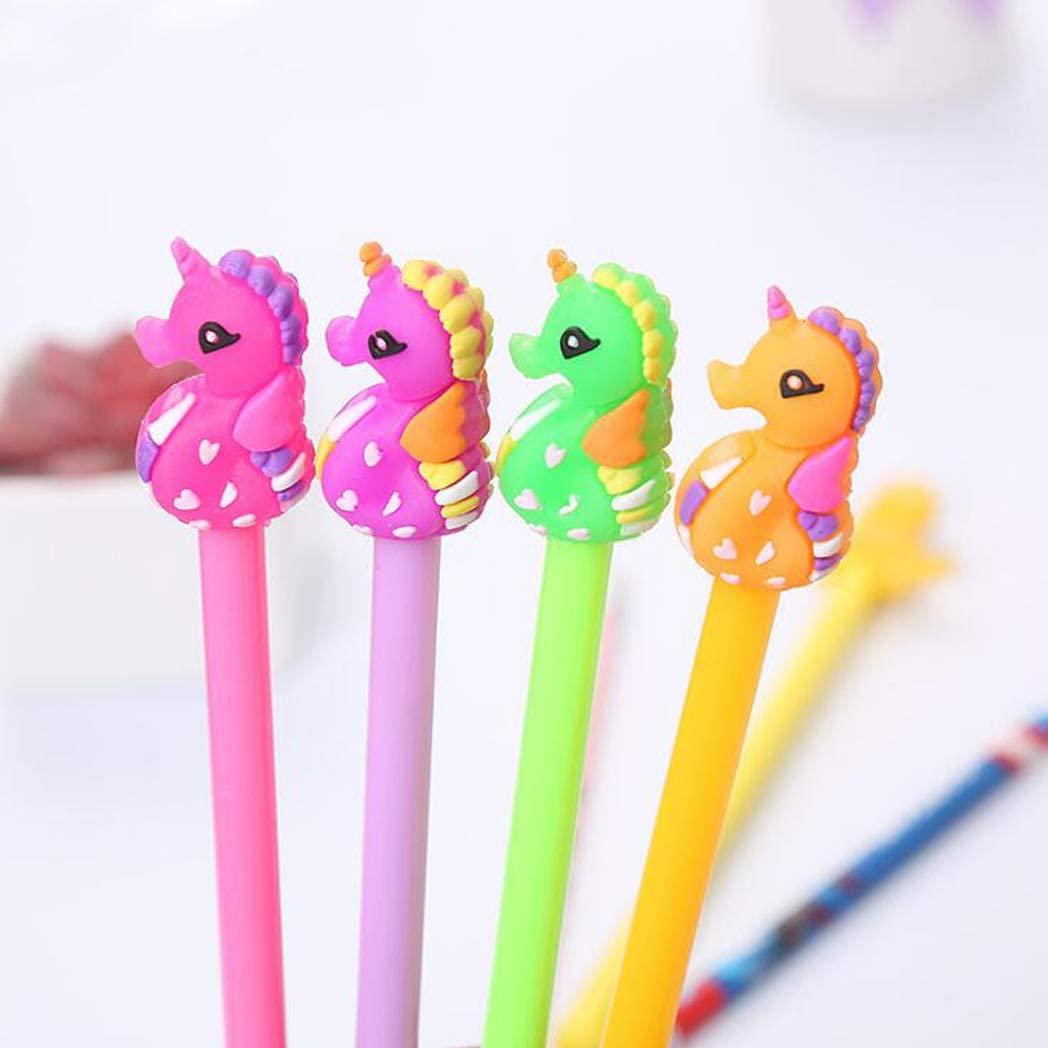 Sencoo 4 Pack Blue Gel Ink Pens Cute Cartoon Seahorse Pens Children Birthday Present School Prize Pens