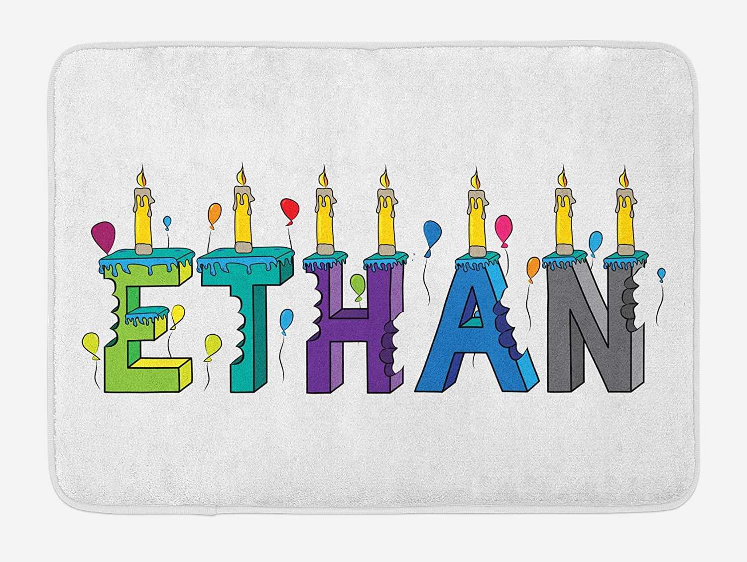 Ambesonne Ethan Bath Mat, Celebration Themed Candles and Bitten Cake Popular Male Name Birthday Party Image, Plush Bathroom Decor Mat with Non Slip Backing, 29.5