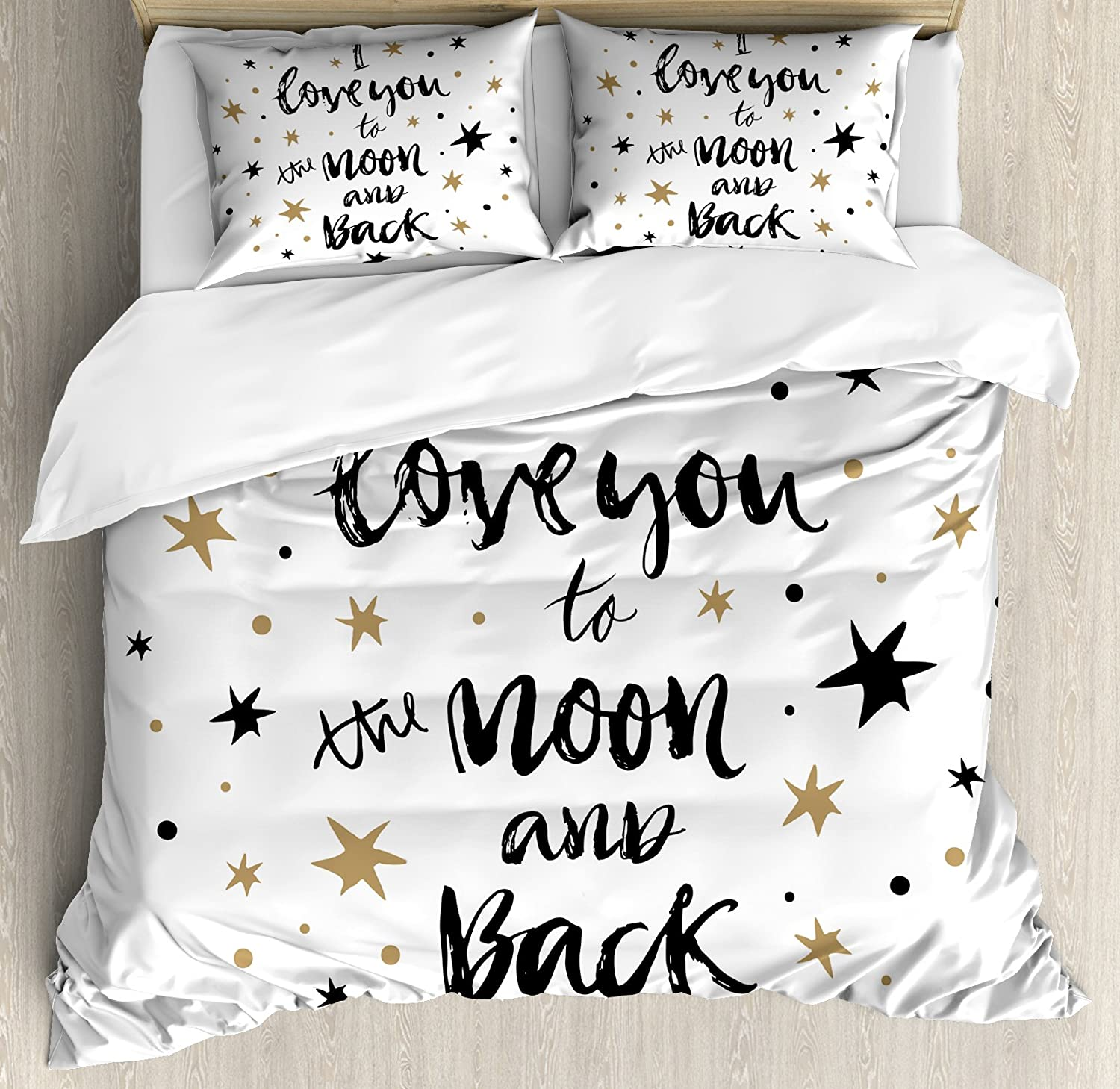 Ambesonne I Love You Duvet Cover Set, Hand Drawn I Love You to The Moon and Back Words with Stars Celebration Theme, Decorative 3 Piece Bedding Set with 2 Pillow Shams, Queen Size, Black Cocoa
