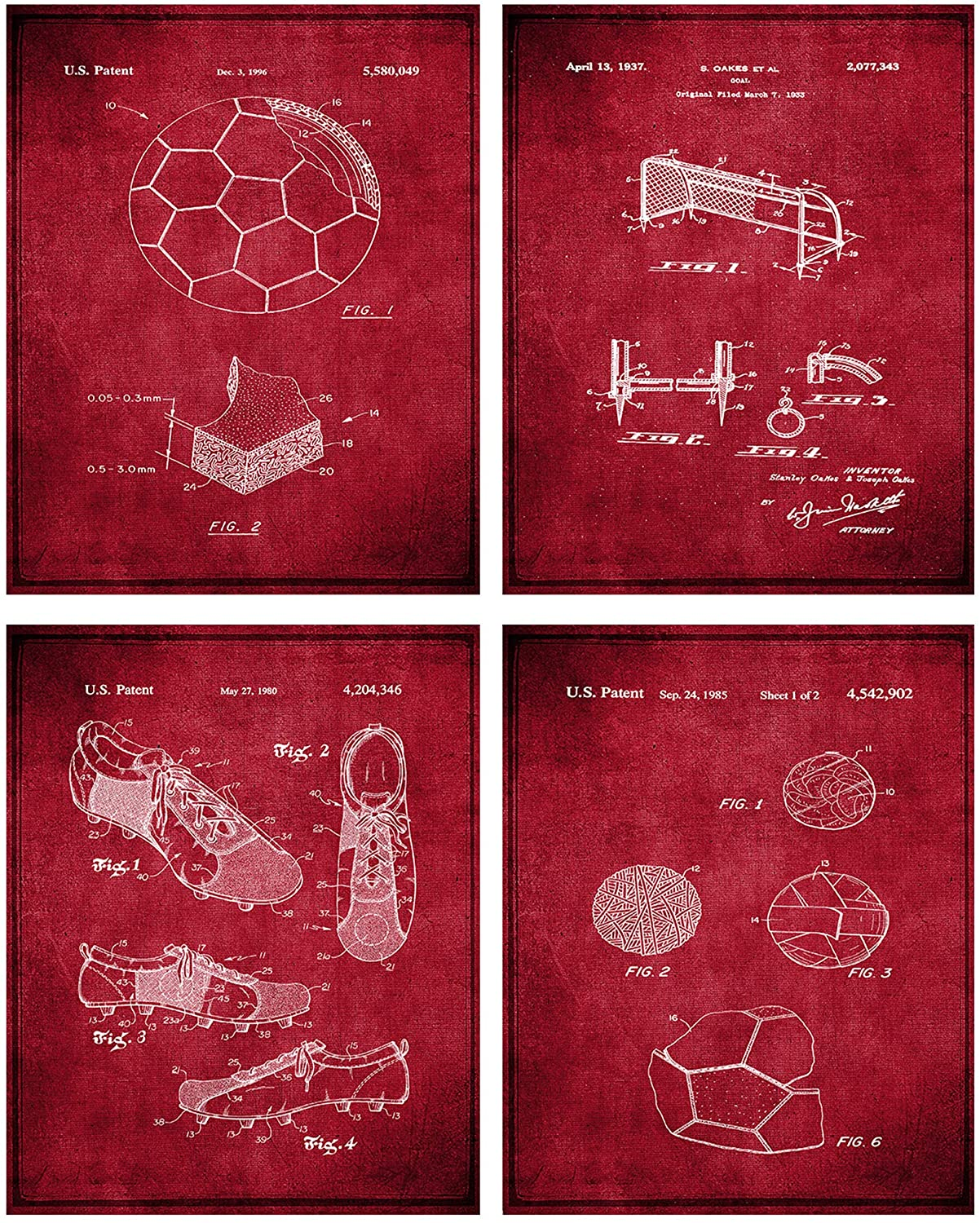 Soccer Patent Print Wall Art - Set of Four Fine Art Photos 8x10 Unframed - Great Gift for Soccer Player Decor (Burgundy)
