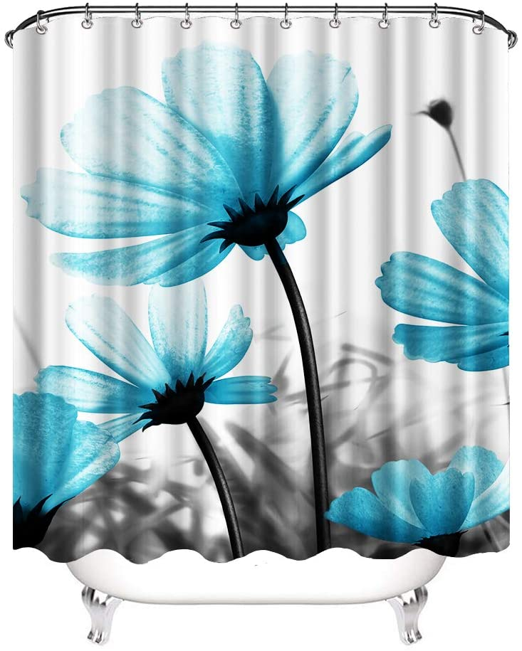 VividHome Polyester Fabric Shower Curtain Set with 12 Hooks 3D White Blue Flower Shower Curtain for Girls Bathroom Decor