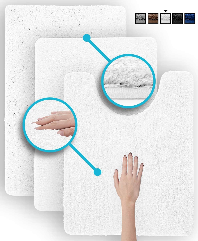 Luxe Rug White Plush Bathroom Rugs Bath Shower Mat Set w Non Slip Microfiber Super Absorbent Rug Alfombras para Baños (3, White)