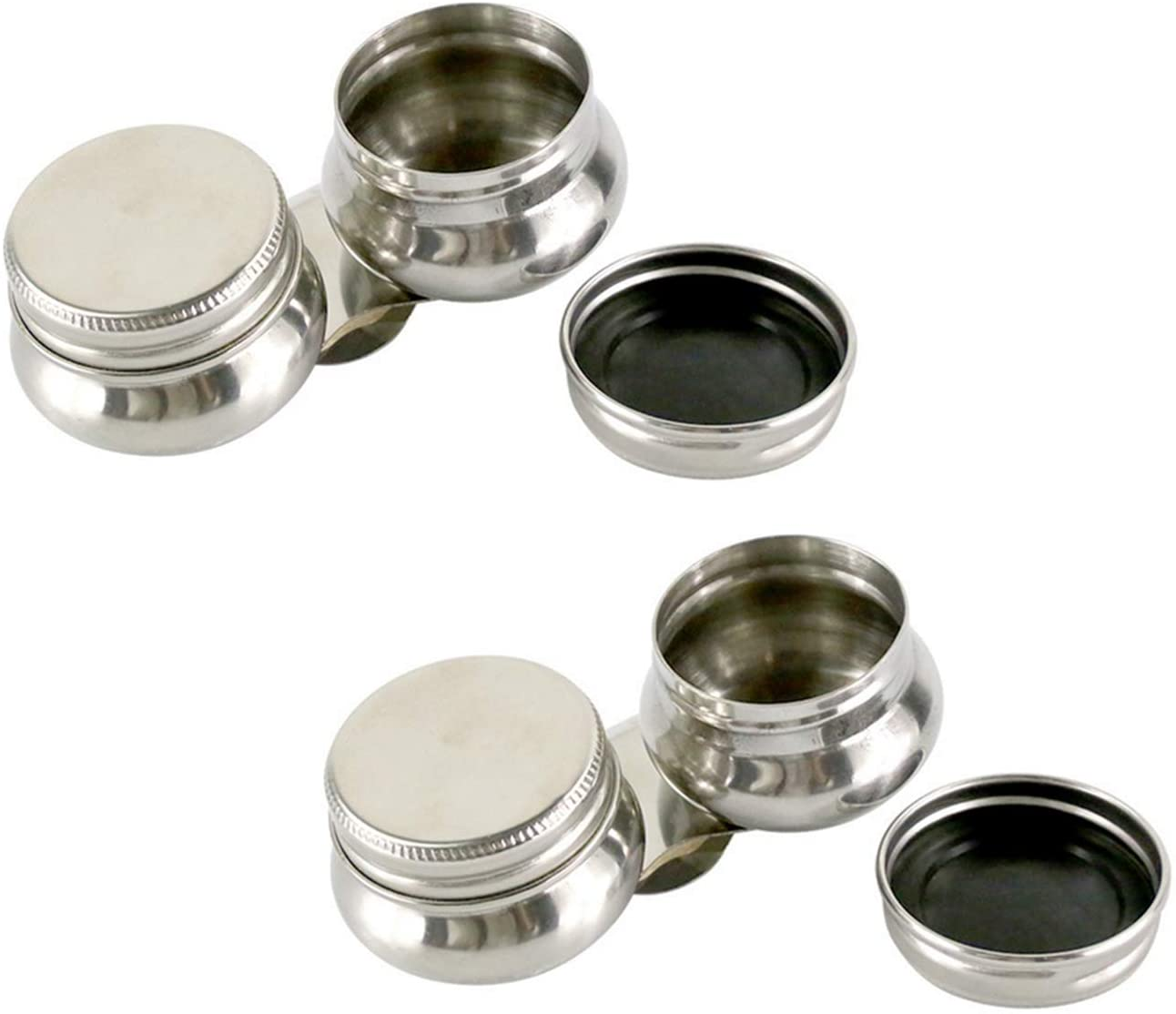 MIAO YUAN 2Pack Oil Palette Cup Double Dipper Painting Art Pallete Clip Pot Supplies Tools with Lid