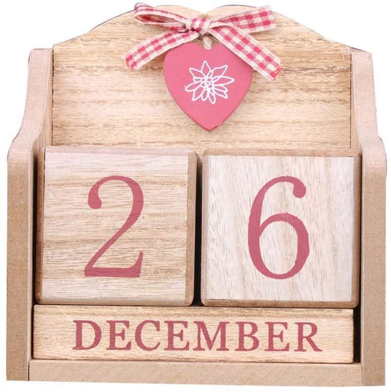 UNTERING Vintage Wooden Perpetual Calendar Month Date Display Eternal Blocks Photography Props Desktop Accessories Home Office Decoration