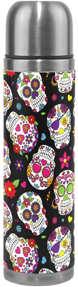 ALAZA Day of The Dead Sugar Skull Vacuum Flask 17 oz, Double Layer Stainless Steel Vacuum Insulated PU Leather Travel Mug Kettle Bottle Cup