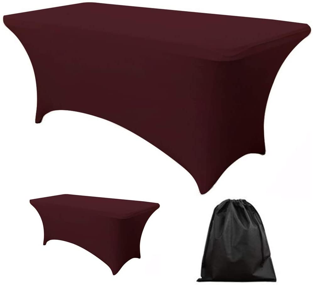 LOVWY 4 FT Burgundy Fitted Rectangular Table Cover Spandex Fabric Tablecloth Stretch Bar Bistro for Wedding Party Decorations