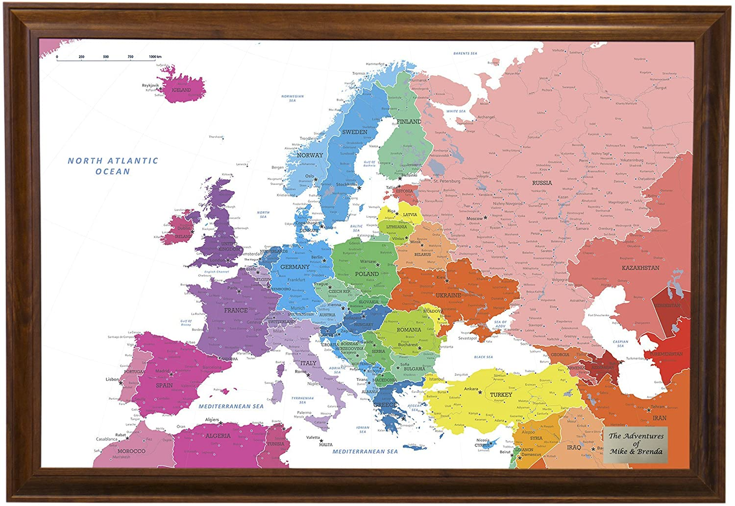 Push Pin Travel Maps Personalized Colorful Europe with Brown Frame and Pins - 27.5 inches x 39.5 inches