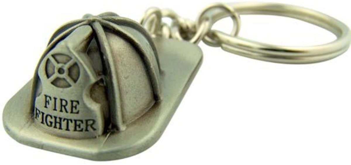 Pewter Firefighter Helmet Shaped Medal Keychain, 1 1/2 Inch