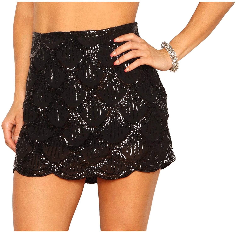 Arsimus Sequin Scalloped Flapper Skirt