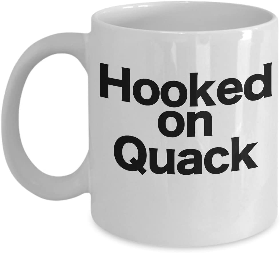 Bird Hunting Mug White Coffee Cup Hooked on Quack Funny Gift for Duck Hunt Farmer Hunter Duckaholic