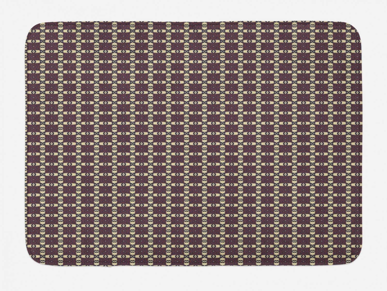 Ambesonne Tribal Bath Mat, Nostalgic Prehistoric Geometric Bohemian Pattern, Plush Bathroom Decor Mat with Non Slip Backing, 29.5