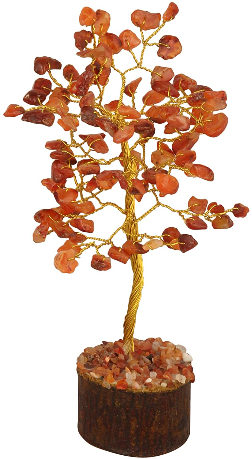 FASHIONZAADI Carnelian Feng Shui Bonsai Gemstone Tree Natural Stone Trees for Chakra Healing Crystal Good Luck Home Decoration House Spiritual Gift Décor Health Wealth Size 7-8 inch (Golden Wire)