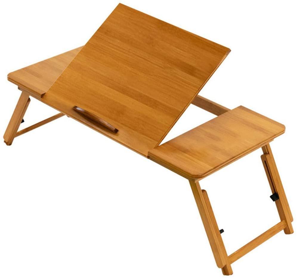 Folding Laptop Desk for Bed,Small Bamboo Table with Tilting Desktop,Adjustable Height Lap Desk Stand TV Dinner Tray Child Bed desks
